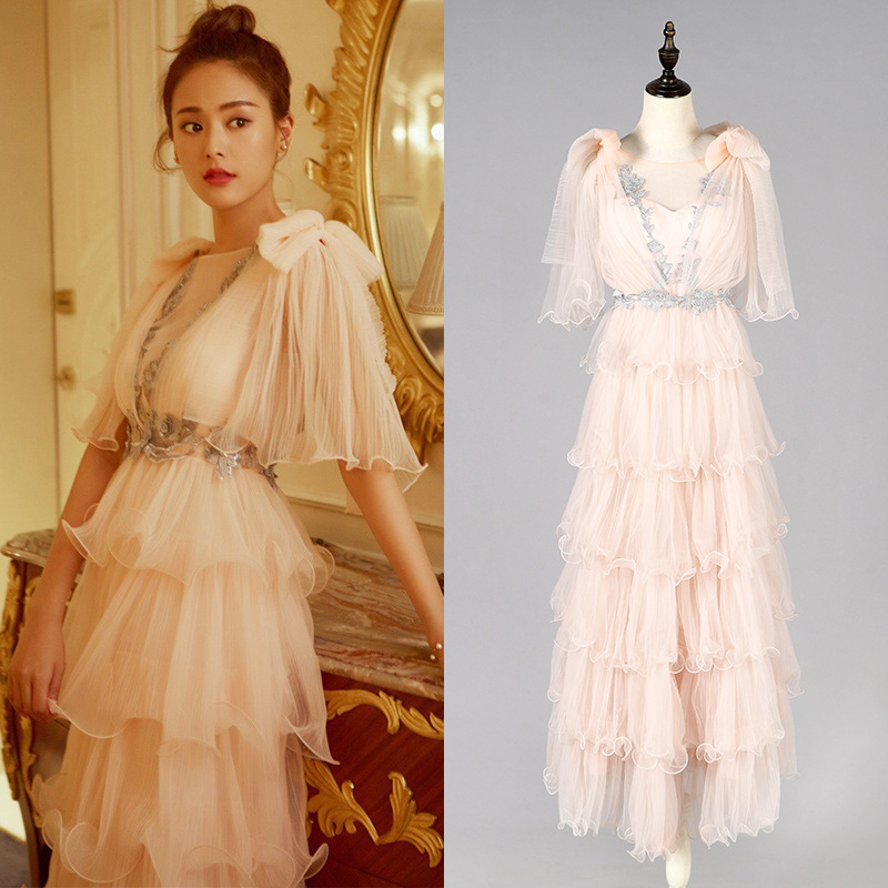 2019 High Quality Women Bows Backless Flare Sleeve Long Ball Gown Dress Evening Mesh Cake Party Dres celebrity Maxi  Dress