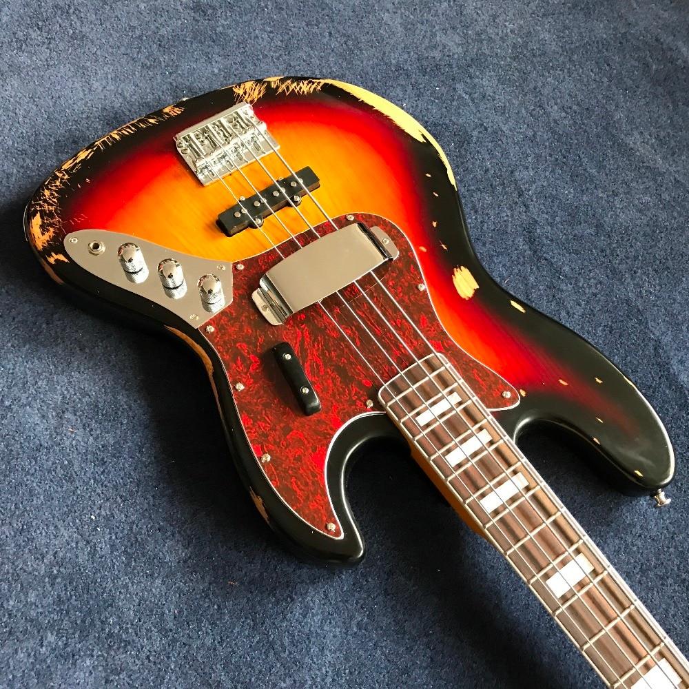 Vente chaude 1959 relique Jazz bass corps en tilleul avec 4 cordes basse électrique en couleur sunburst, haute qualité