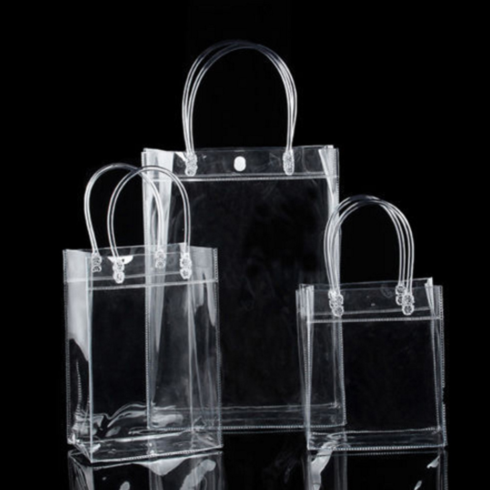 1 Piece New Clear Tote Bag Square PVC Transparent Shopping Bag Unisex Shoulder Handbag Environmentally Storage Button Bags