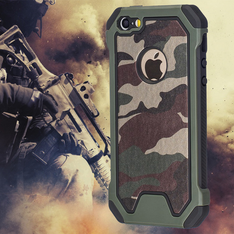 Military Camo Green Case For iPhone 7 Plus 6 5S 6S SE 7Plus Case Dual Layer PC Edge Soft TPU Hybrid Defender Protective Cover