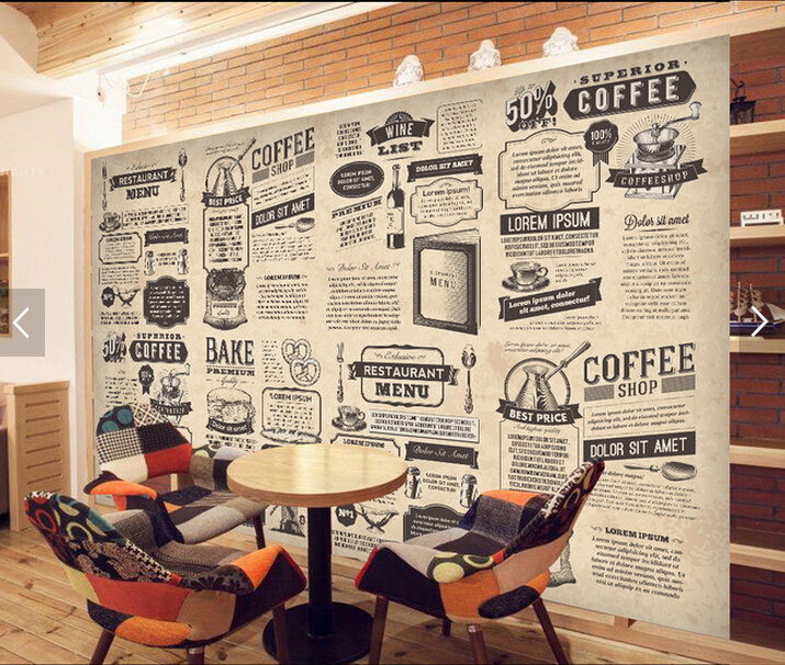 Custom Retro Wallpaper Hand Drawn Food Icon Newspaper For Living Room Restaurant Coffee Shop Background