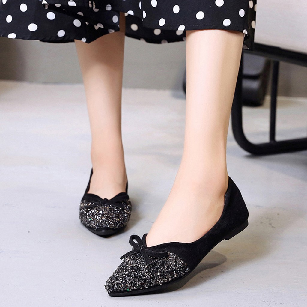 forme Style red Chaussures Mode Bowknot Bout À Beige Plate Bling Mujer black Peu Femmes Élégante Coréen Cristal Pointu De Féminine Profonde Zapatos rqx1r7g