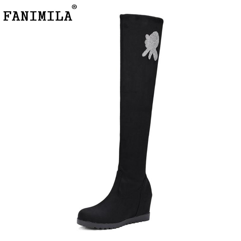 FANIMILA Women Knee High Boots Women Height Increasing Warm Winter Non-Slip Round Toe Elastic Ladies Boots  Women Size34-43 large size 34 41 simple leisure height increasing round toe zip women boots winter genuine leather solid knee high boots