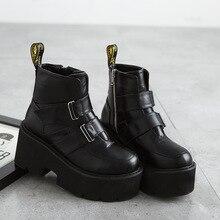 купить 2019 new winter boots women high thick platform Martin boots high heels flush women shoes leather ankle boots for women по цене 2106.6 рублей