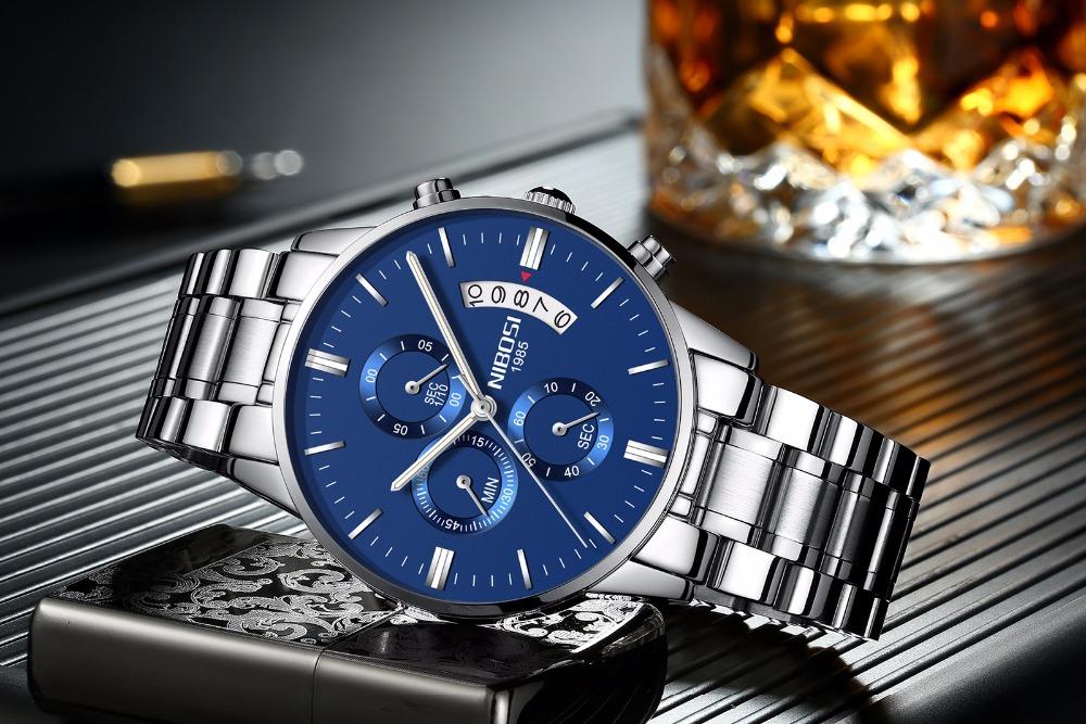 Relojes de hombre NIBOSI Relogio Masculino, relojes de pulsera de cuarzo de estilo informal de marca famosa de lujo para hombre, relojes de pulsera Saat 29