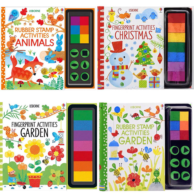Children Fingerprinting Books With Rubber Stamps Ink Pad Kids Activities Doodling Book Animal Garden Kindergarten DIY Craft Toy