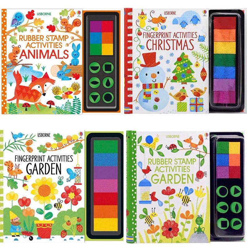 Children Fingerprinting Books with Rubber Stamps Ink Pad kids Activities Doodling Book Animal Garden Kindergarten DIY Craft Toy