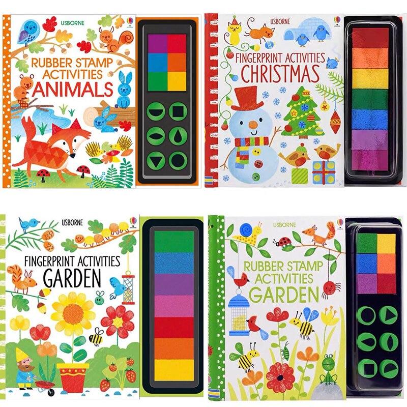 Enfants empreintes digitales avec tampons en caoutchouc tampon d'encre enfants activités Doodling livre Animal jardin maternelle bricolage artisanat jouet