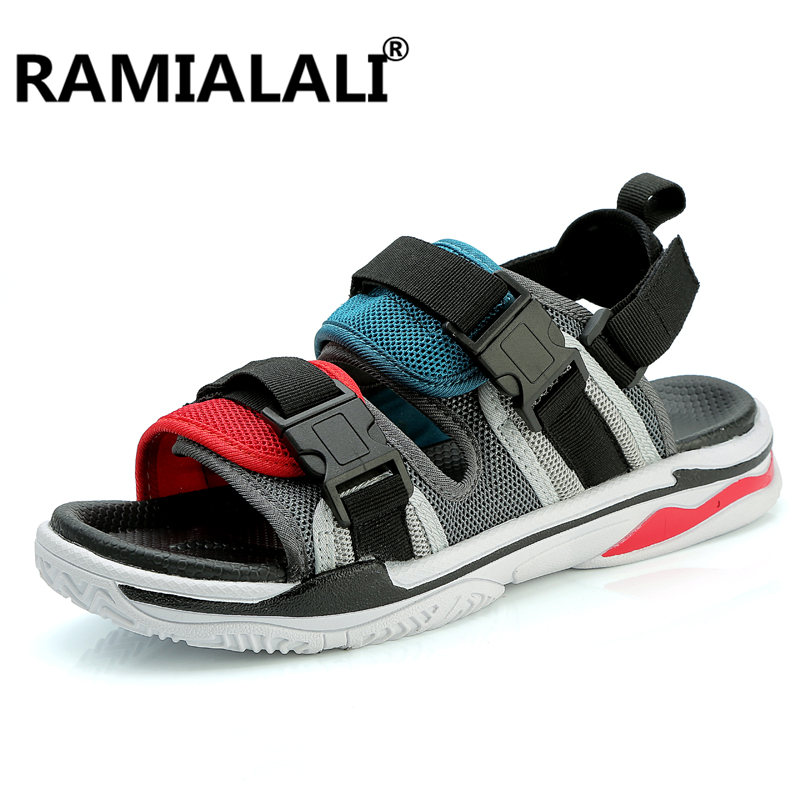Men's Shoes Official Website 2019 New Mesh Mens Sandals Summer Black Casual Shoes High Quality Flat Beach Sandals Slippers For Men Hommes Sandalias Refreshing And Beneficial To The Eyes Men's Sandals