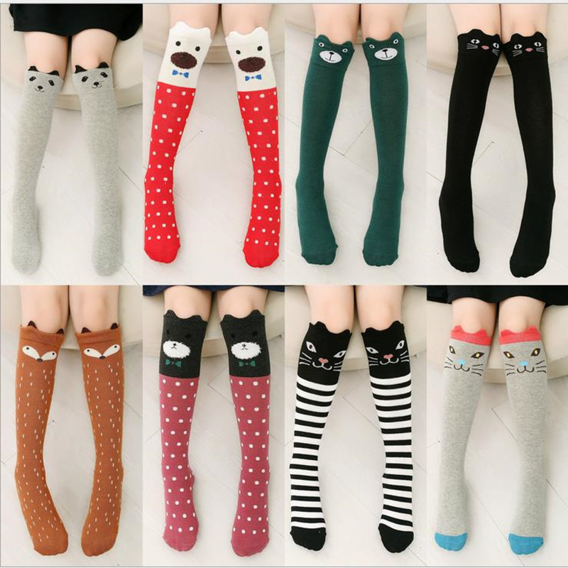 1 Pair Cute Baby Girl Socks Cartoon Printed Animal Cotton Kids Knee High Long Fox Chidren Socks Clothing Accessories