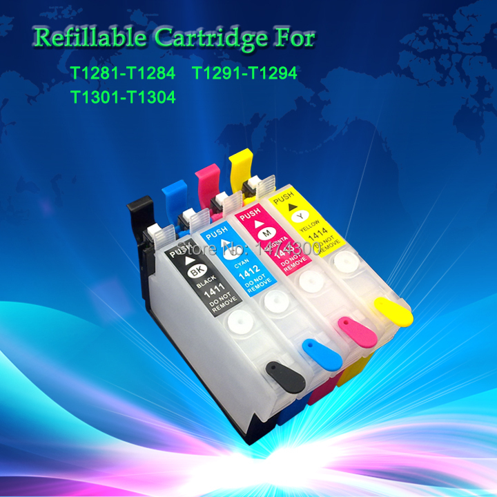 Free shipping  24PCS Empty Refillable ink cartridge T1281 T1282 T1283 T1284 with new reset chip for SX125 SX425W BX305F BX305FW free shipping high quality ink cartridge compatible for hp835 836 ip1188 large capacity