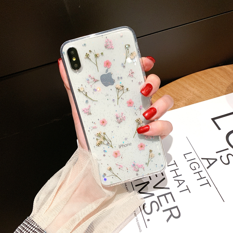 Electronics - Real Pressed Dried Flowers Phone Case For iPhone XS Max XR 6 6s 7 8 Plus X Silicon TPU Clear Floral Cover Cases Fundas