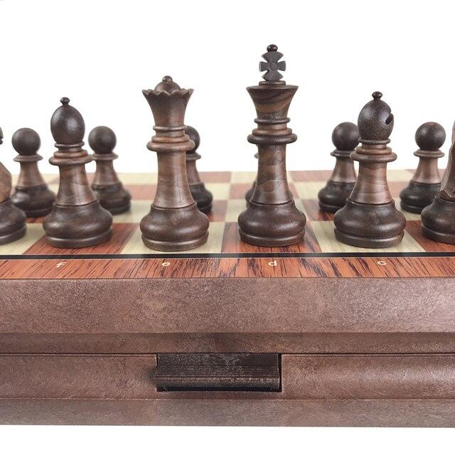 De haute qualité d'échecs En Bois WPC D'échecs Plié Conseil International magnétique Jeu d'échecs Exquis Échecs Puzzle Jeux Jeu de Société Yernea 6