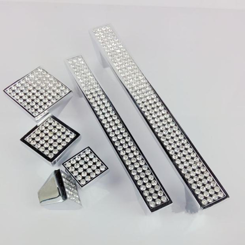 5 10 25 Cabinet Pull Square Drawer Handles Kitchen: 96mm 128mm Modern Fashion Rhinestone Kitchen Cabinet