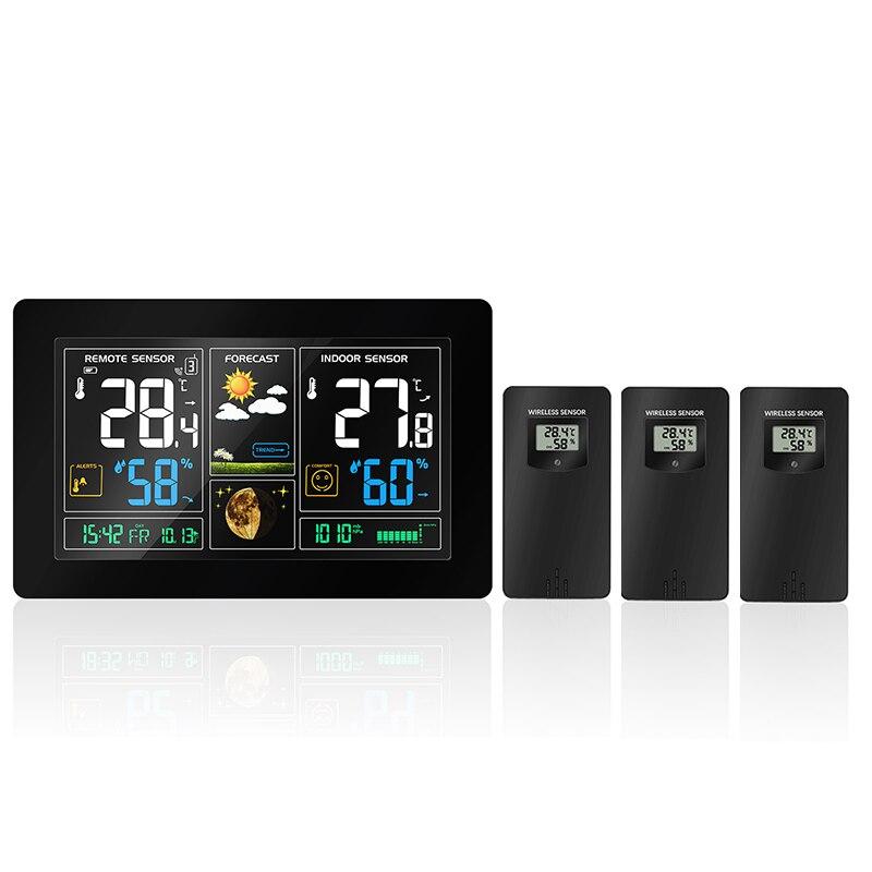 Numérique Snooze réveil 3 Capteurs Extérieurs station météo sans fil Couleur LCD Température Humidité Météo Affichage