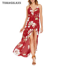 2019 Summer Boho Sexy Deep V Side Print Floral Split Backless Sleeveless Slip Ankle-Length Women Dresses Female Dress Vestidos rose backless design floral print deep v neck sleeveless dresses