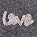 2 лота или более 10% скидка Горный Хрусталь ЛЮБОВЬ форма аксессуары для свадебное платье створки пояса одежда аппликация для DIY повязки сумки