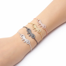 Women Bow Charm Bracelets Box Chain Cubic Zirconia Free Size Party Jewelry Fashion Girl Gift MOLINUO