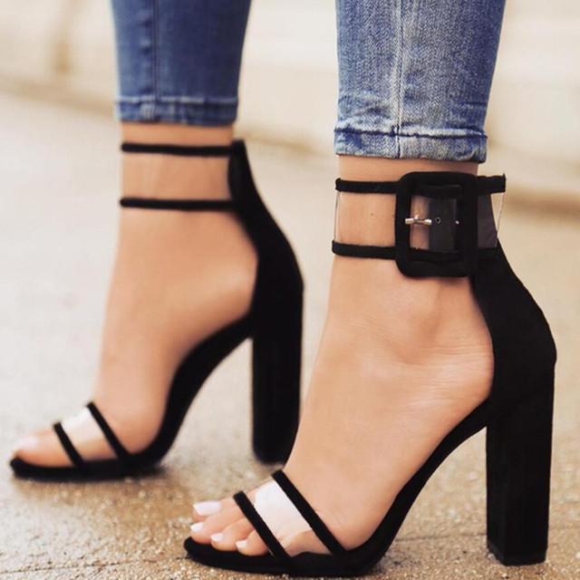 92fbb252240 2018 New Super High Heels Women Shoes Jelly Sandals PU Leather Sexy Lady  Buckle Open toe Sandals Female Summer Shoes Plus Size