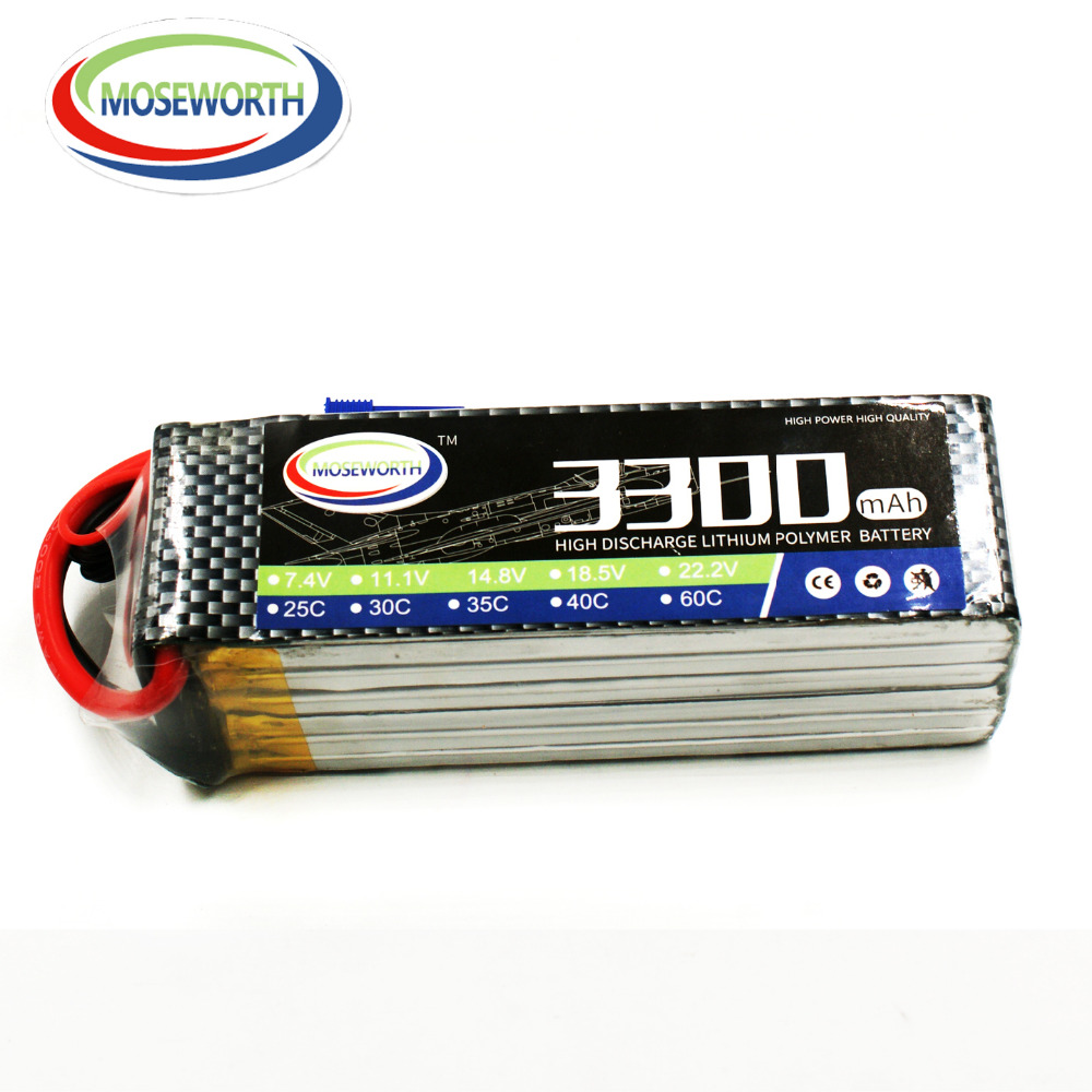 MOSEWORTH 6S 22.2V 3300mah 60C RC Drone LiPo Battery for Airplane Quadrotor Akku batteria