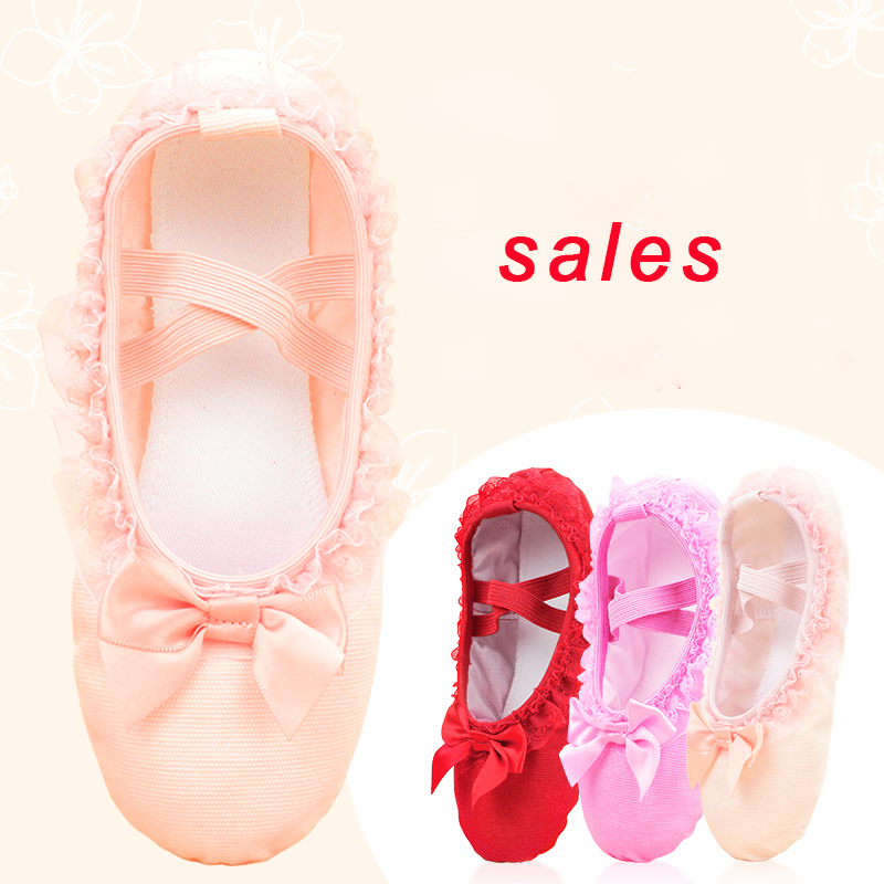 Sales Ballet Dance Shoes Girls Toddler Ballet Slippers Lace Canvas Slip On Ballet Flats For Dancing