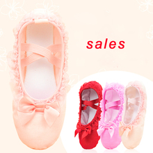 Sales Ballet Dance Shoes Girls Toddler Slippers Lace Canvas Slip On Flats For Dancing