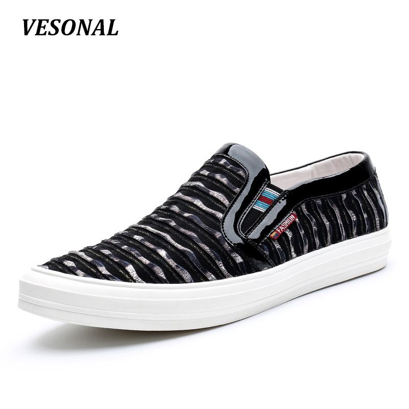 VESONAL 2017 Brand Top Quality Slip On Loafers Men Shoes Fashion Personality Stripe Fabric Patchwork Mens Shoes Casual SD7003 vesonal 2017 top quality lycra outdoor ultralight slip on loafers men shoes fashion stripe mens shoes casual sd7005
