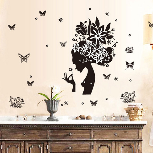 Creative New 2017 Wall Stickers Home Decor Living Room Black Girl Pattern Butterfly Decoration Sticker
