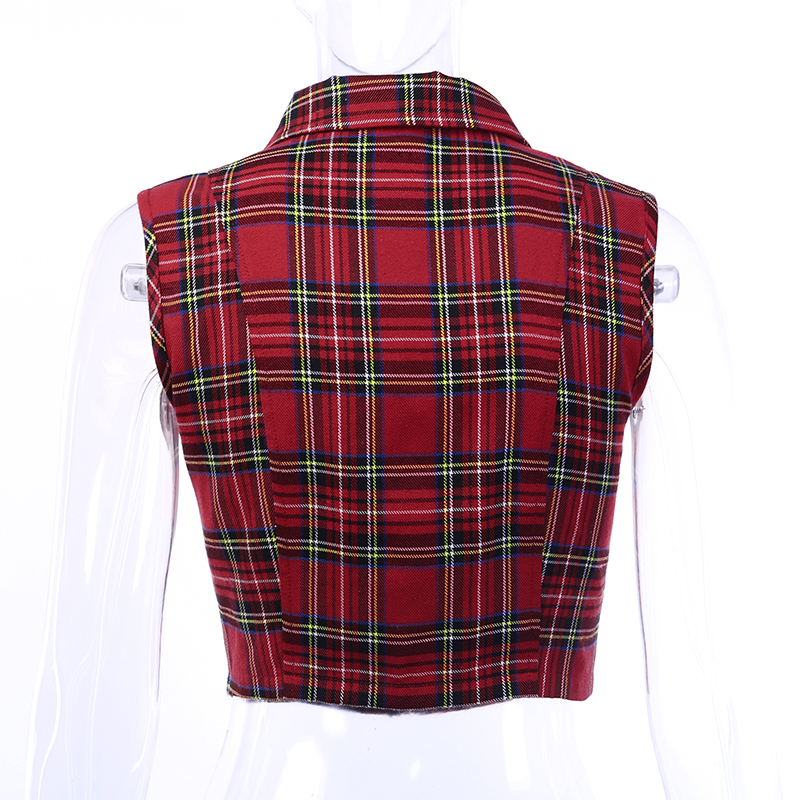 2019 Summer New Fashion Women Cotton Tops Chains Female Casual Short Sleeve Plaid Short Shirt jacket Pocket Zipper Mujer de moda in Vests amp Waistcoats from Women 39 s Clothing