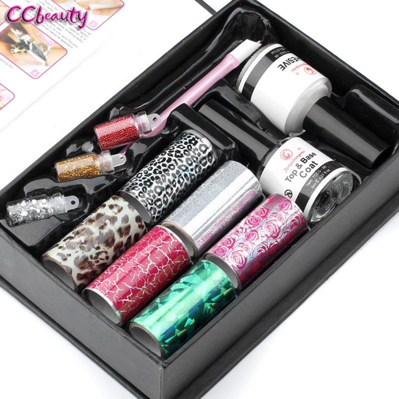 6 Sheet Mix Color Transfer Foil Nail Art Star Design Sticker Set Decal For Polish Care DIY Universe Tool Top Coat + Base Coat hot sale 20 sheets lot 20 4cm nail art transfer foil floral serial sexy black lace pattern nail sticker foil material diy wy188