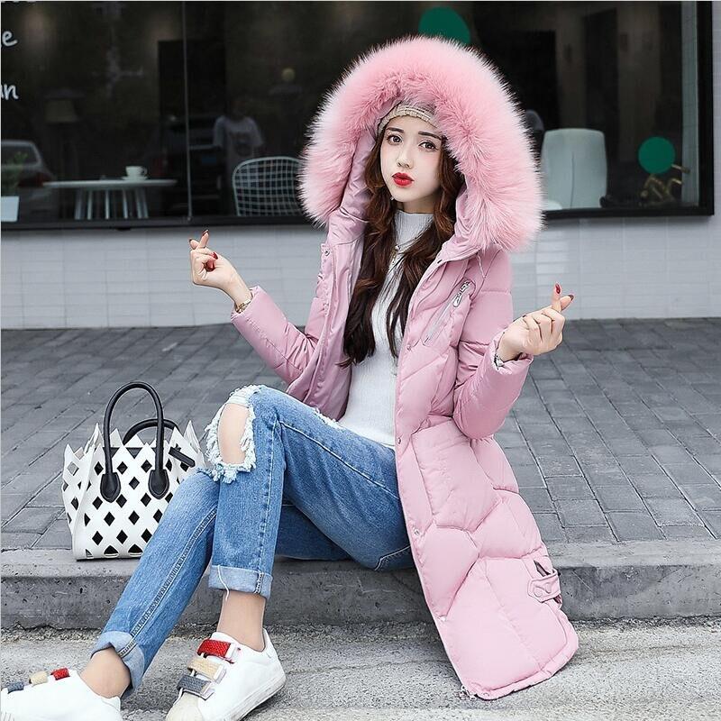 Mince De La Green Tout Noir gris Veste army rose Capuchon Solide Col Chaud Long Taille Outwear S 3xl Plus rouge allumette Manteau Parkas Femmes Coton 2018 Hiver Fourrure À Épaissir R87pY