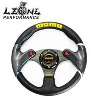 LZONE RACING NEW 32cm Black MOMO Leather Steering Wheel And Carbon Fibre Wheel Automobile Race Modified
