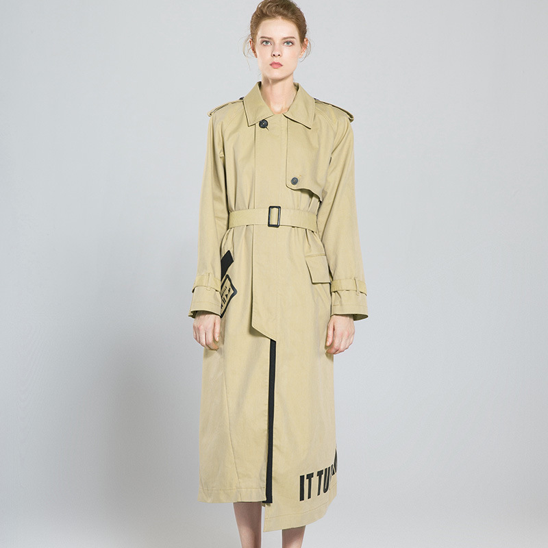 Letter print Full sleeve zipper X-long asymmetric trench coats 2018 new high quality office lady women autumn