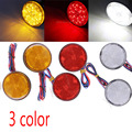 2 x Red Yellow White LED Round Reflector Tail Brake Stop Marker Light Indicator Truck Trailer