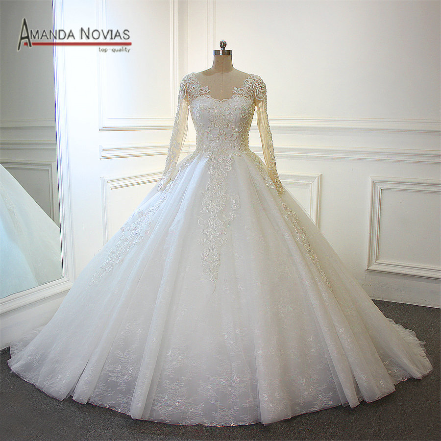 Gelinlik Wedding Dress With Long Train Back Lace Up 100 Top