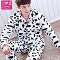 Pijama Masculino Сексуальные Мужчины Пижамы мужские Костюмы Толщиной Осенью И Зимой Одежда Для Дома Прекрасный Длинными Рукавами Коралловый