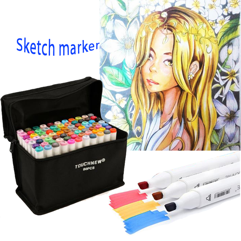 W110111/ Dual Head Markers Sketch Set Watercolor Brush Pen For Drawing/30/60/80 Colors Art Marker Pen Design Artist