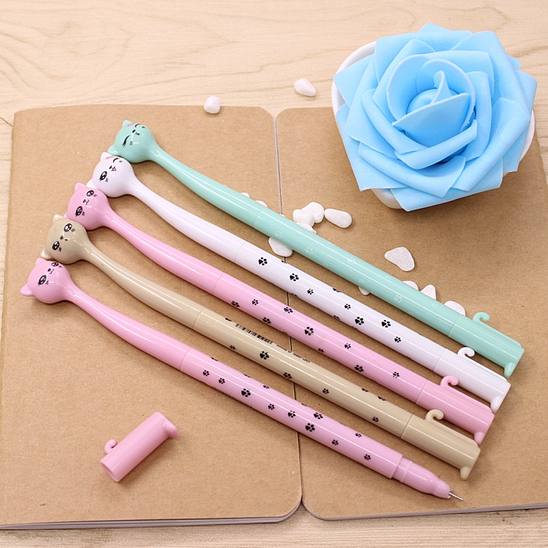 1Pcs New Novelty Cartoon Candy Color Bent Neck Cat Gel Pen Ink Marker Pen School Office Supply Gift Pen E0611