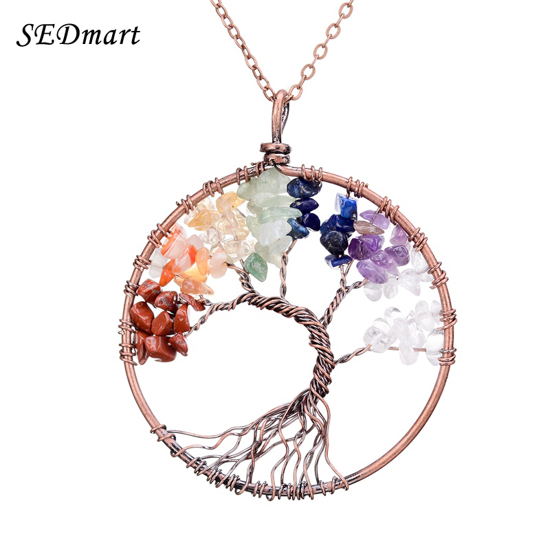 Sedmart 7 chakra tree of life pendant necklace copper rose quartz turquoise crystal natural stone necklace