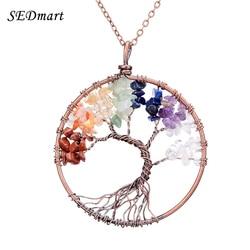 Sedmart 7 chakra tree of life pendant necklace copper rose quartz turquoise crystal natural stone necklace.jpg 250x250