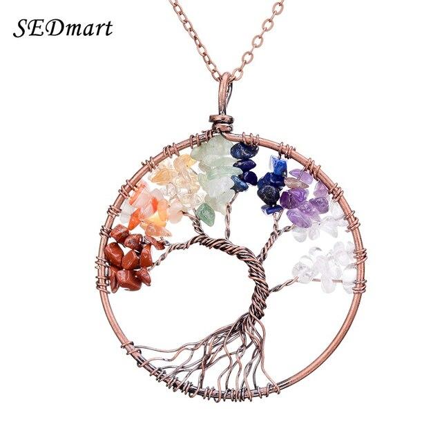 SEDmart 7 Chakra Tree Of Life Pendant Necklace Đồng Tinh Thể Đá Tự Nhiên Vòng Cổ Phụ Nữ Món Quà Giáng Sinh