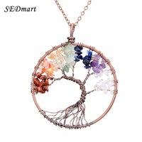 SEDmart 7 Chakra Tree Of Life Pendant Necklace Copper Rose Quartz Turquoise Crystal Natural Stone Necklace
