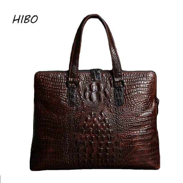 Genuine Leather Men Business Briefcase Laptop bag Casual Messenger Bags Handbags Shoulder Crossbody Bag Male crocodile pattern