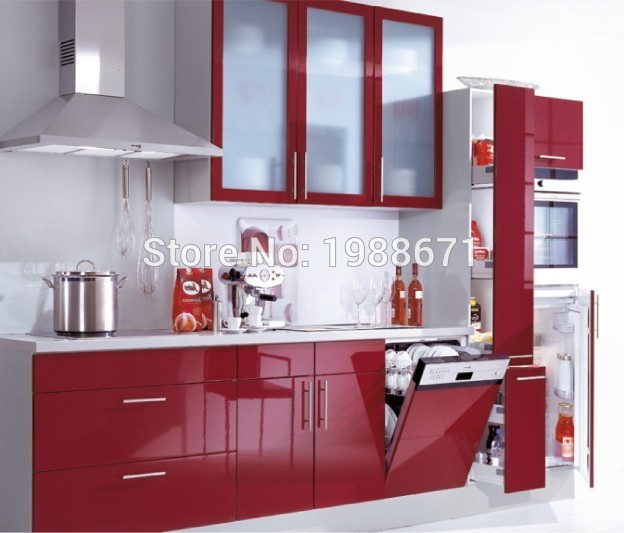 Red Lacquer Kitchen Cabinet Painting Non Wood Kitchen