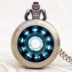 Железный человек фильмы расширение Тони Старк Железный человек дуговой реактор Джарвис оригинальные карманные часы с Цепочки и ожерелья