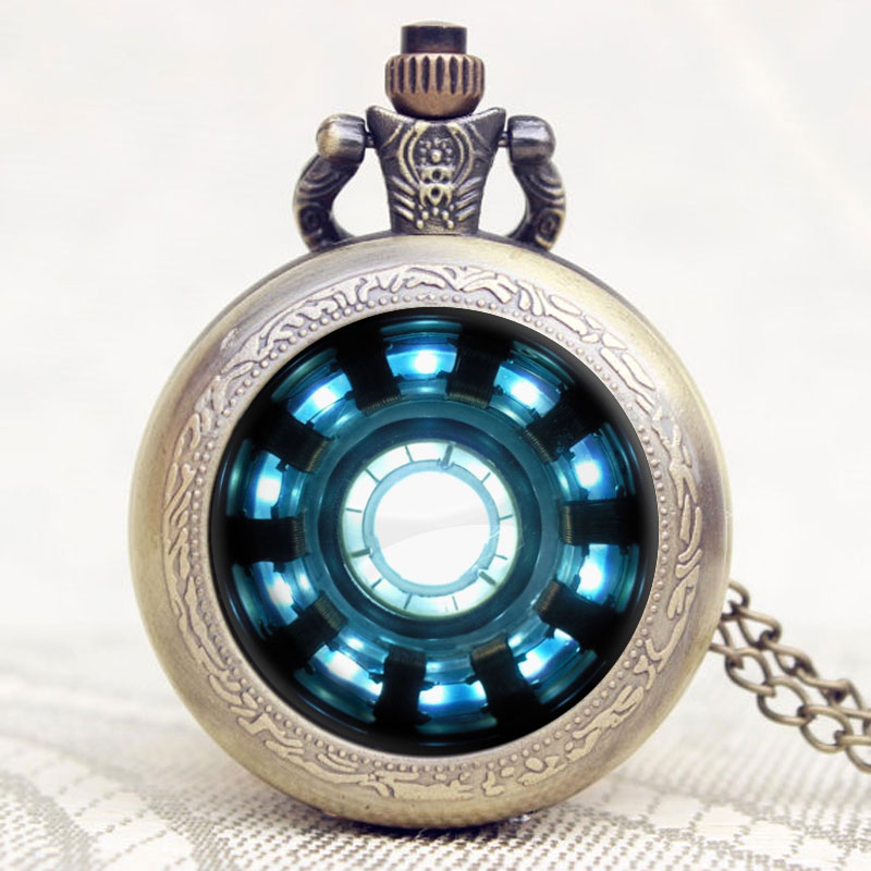 Iron Man Movies Extension Tony Stark Iron Man Arc Reactor Jarvis Design Pocket Watch With Necklace Chain Relogio De Bolso movies