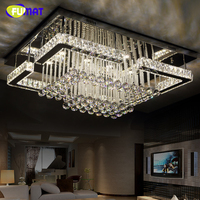 FUMAT Rectangle Luxury Crystal Lamp Modern Ceiling LED Dimmer Luminaire For Living Room Lustre K9 Crystal