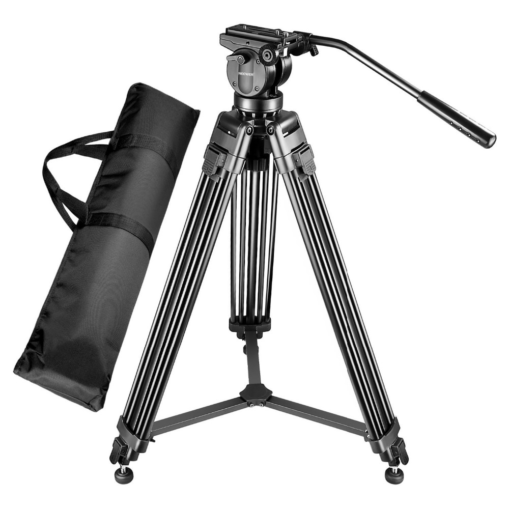 Neewer Professional 61 inches/155 cm Aluminum Alloy Video Camera Tripod 360 Degree Fluid Drag Head 1/4+3/8-inch Quick Release