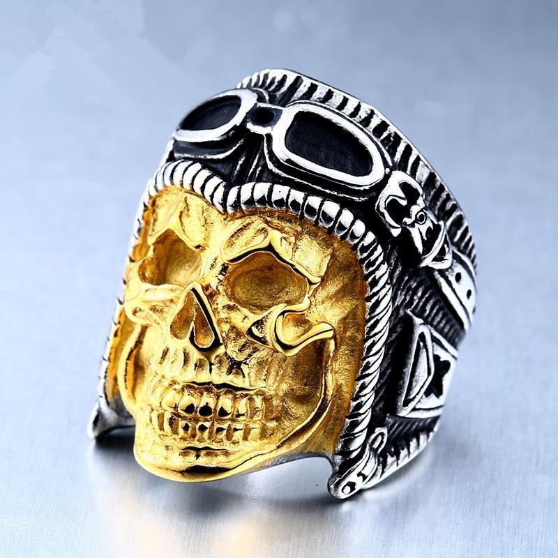 Vintage Cool Skeleton Rings For Men Lovers Men s Domineering Ring Punk  Skeleton Pilot Ring Drop Shipping 0ce7d557a8a7