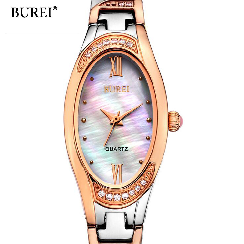 BUREI Fashion Rose Gold bracelet Women Watches 30M Waterproof Ladies Quartz Watch Women Wristwatches oval relogio masculino 2017 2017 new top fashion time limited relogio masculino mans watches sale sport watch blacl waterproof case quartz man wristwatches